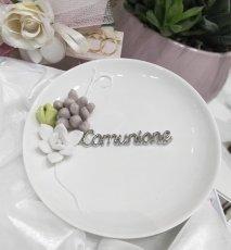 Piattino svuota tasche comunione in porcellana, con fiori,  diametro cm12