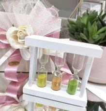 Mini clessidre colorate in vetro con cornice legno bianco 9x8 cm.