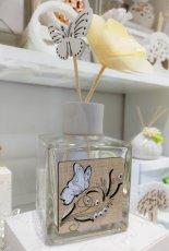 Profumatore in vetro con inserti in legno e strass, bacchette rosa e farfalla  cm 11