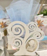 Box Albero comunione in legno portaconfetti cm 8x8 + sacchetto in tessuto (tulle di colori a scelta