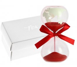 CLESSIDRA WORLD DISEGNO MAPPAMONDO SUL VETRO CON SABBIA ROSSA 5X10 C/AST.