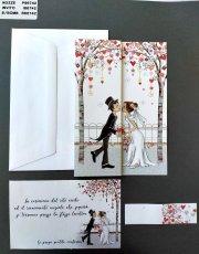PARTECIPAZIONE ALBERO CUORI CON SPOSI ROMANTICI E DECORI COLORATI IN RILIEVO + INVITO + BUSTA.