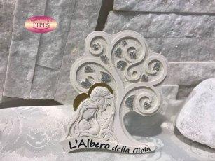 ALBERO DELLA VITA SACRA FAMIGLIA 9X12CM POLVERE DI MARMO CON BOX