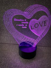 LAMPADA 3D PERSONALIZZATA, ILLUSIONE OTTICA LUCE NOTTURNA LED 25cm
